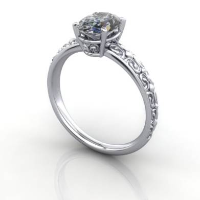 Vintage Ring, RV1, Platinum, 3D