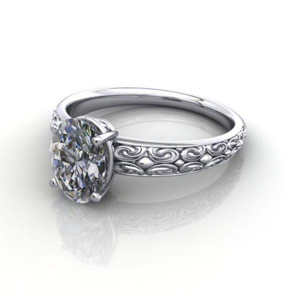 Vintage Ring, RV1, Platinum, LF