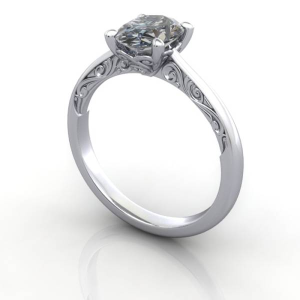 Vintage Ring, RV3, Platinum, 3D