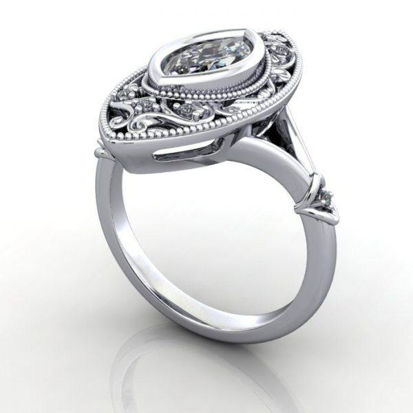 Vintage Ring, RV5, Platinum, 3D