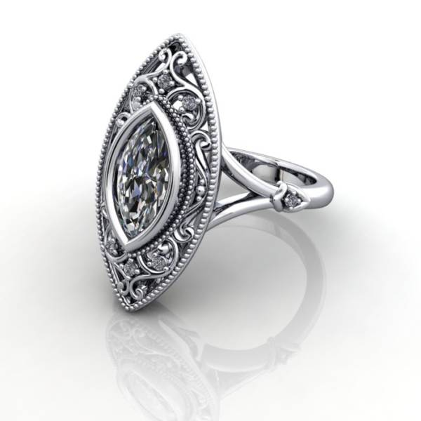 Vintage Ring, RV5, Platinum, LF