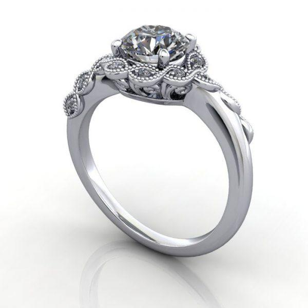 Vintage Ring,Round,RV6,Platinum,3D