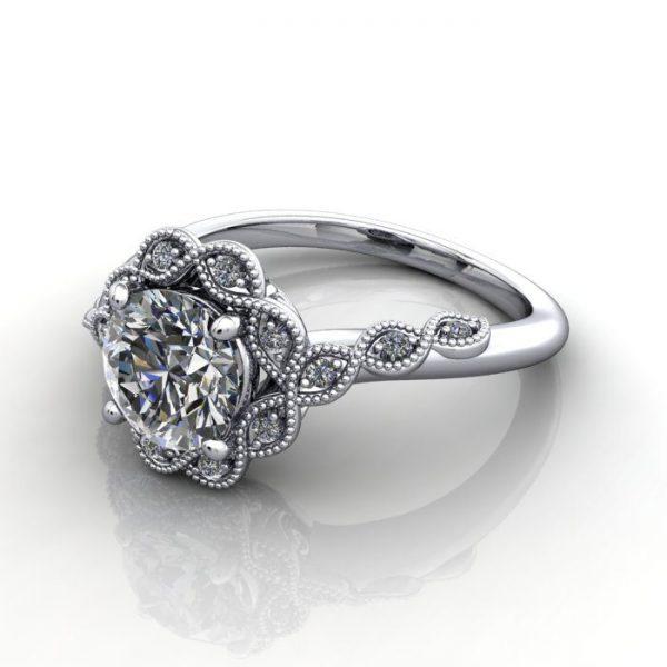 Vintage Ring,Round,RV6,Platinum,LF