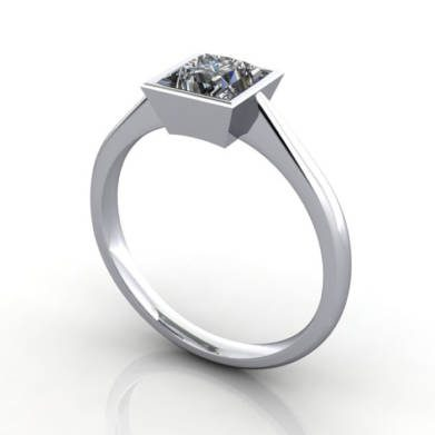 Engagement Ring, RS13, Platinum, 3D