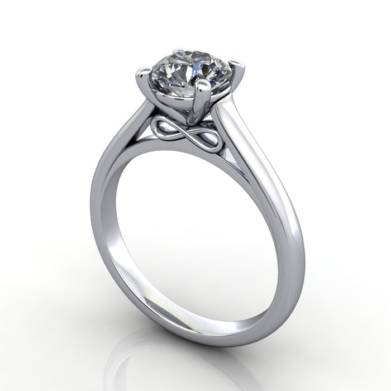 RS34, Round, Platinum, Diamond Solitaire, 3D