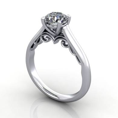 Solitaire Diamond Ring, RS35. Platinum, Round Brilliant, 3D