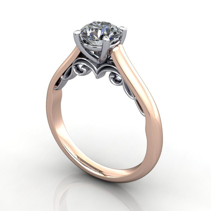 Solitaire Diamond Ring, RS35. Rose Gold, Round Brilliant, 3D