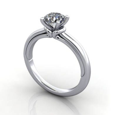 Solitaire Diamond Ring, RS37. Platinum, Round Brilliant, 3D