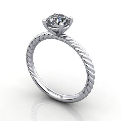 Solitaire Diamond Ring, RS38. Platinum, Round Brilliant, 3D