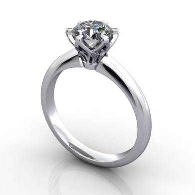 Solitaire Engagement Ring, Oval Diamond, RS32, Platinum, 3D