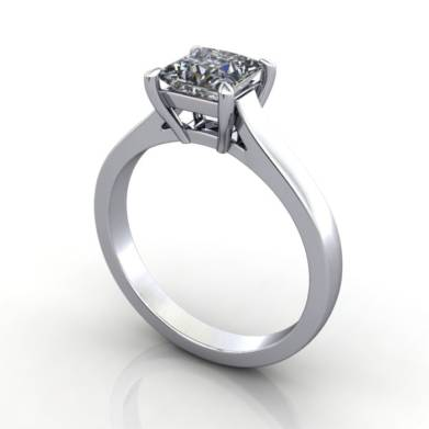 Solitaire Engagement Ring, Radiant Diamond, RS30, Platinum, 3D