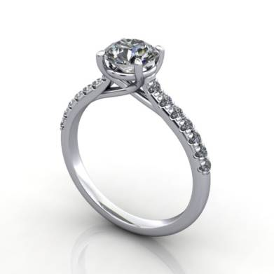Diamond Solitaire RSA44 Round Platinum 3D