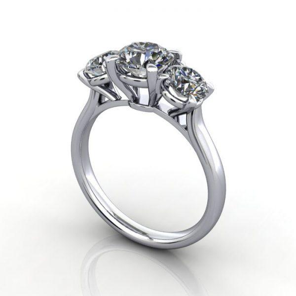 Trilogy Diamond Ring, Round Brilliant Diamond, RT16, Platinum, 3D