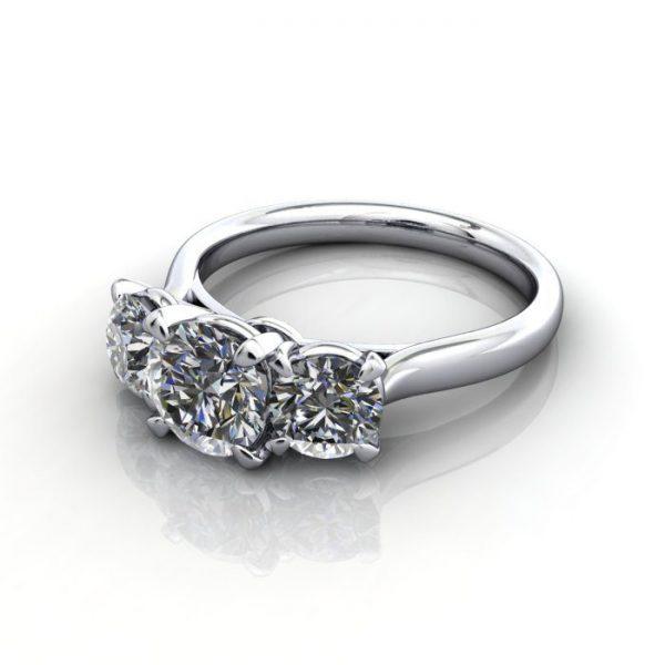 Trilogy Diamond Ring, Round Brilliant Diamond, RT16, Platinum, LF