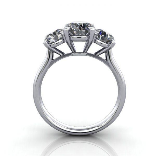Trilogy Diamond Ring, Round Brilliant Diamond, RT16, Platinum, TF