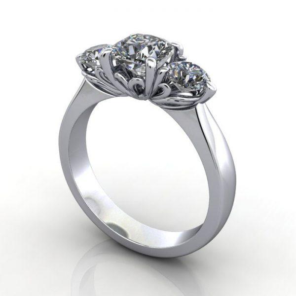 Trilogy Diamond Ring, Cushion Diamond, RT19, Platinum, 3D