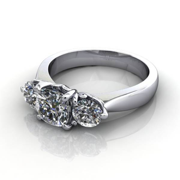 Trilogy Diamond Ring, Cushion Diamond, RT19, Platinum, LF
