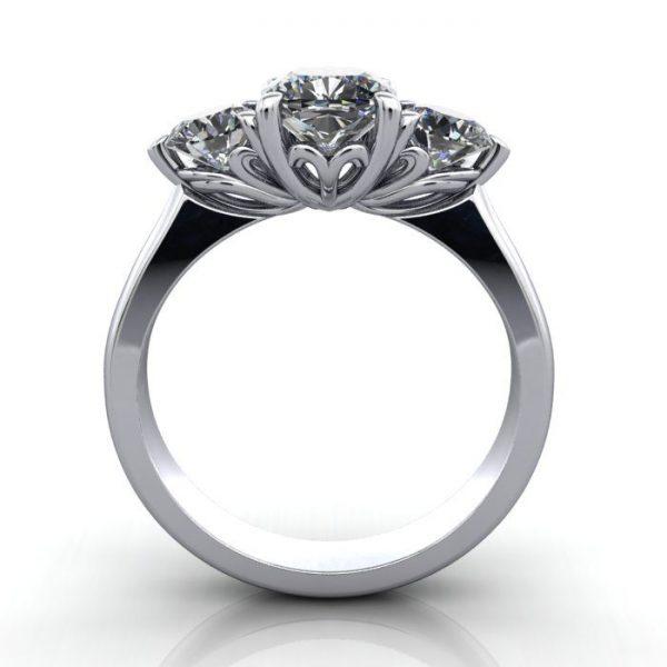 Trilogy Diamond Ring, Cushion Diamond, RT19, Platinum, TF