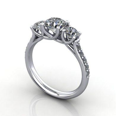 Trilogy Diamond Ring, Round Brilliant Diamond, RT18, Platinum, 3D