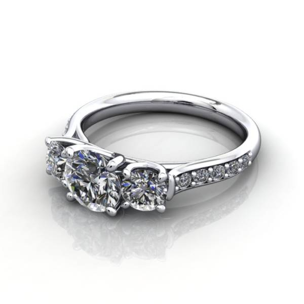 Trilogy Diamond Ring, Round Brilliant Diamond, RT18, Platinum, LF