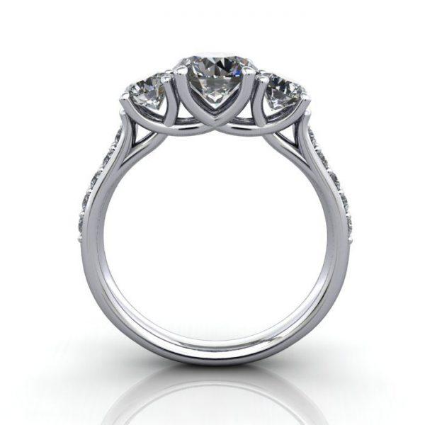 Trilogy Diamond Ring, Round Brilliant Diamond, RT18, Platinum, TF