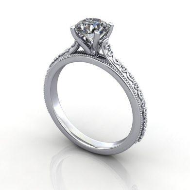 Vintage Ring, RV2, Platinum, 3D