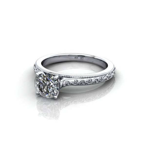 Vintage Ring, RV2, White Gold, LF