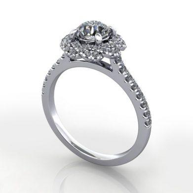 Halo Diamond Ring, RH7, Platinum, Round Brilliant,3D