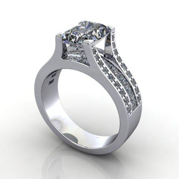 MultiStone Diamond Ring, PDM1, Platinum, 3D