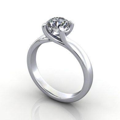 Solitaire Engagement Ring, RS29, Round Brilliant, Platinum, 3D