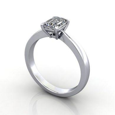 Diamond Ring Solitaire, Emerald, RS27, Platinum, 3D