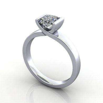 Engagement Ring Solitaire, Princess, RS31, Platinum, 3D