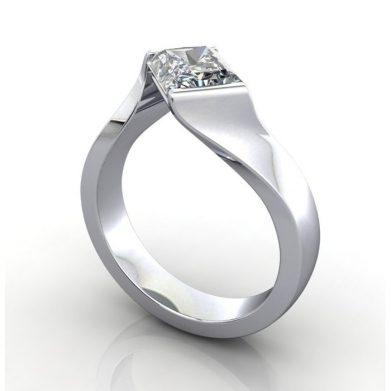 Diamond Ring Solitaire, Radiant, RS42, Platinum, 3D