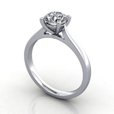 Diamond Ring Solitaire, Round Brilliant, RS36, Platinum, 3D