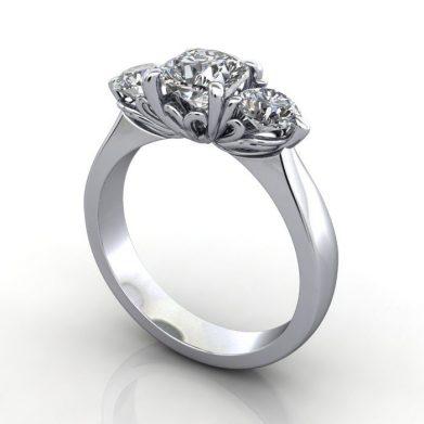 Trilogy Diamond Ring, Cushion Diamond, RT3, Platinum, 3D