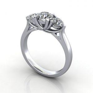 Trilogy Diamond Ring, RT1, Platinum, 3D
