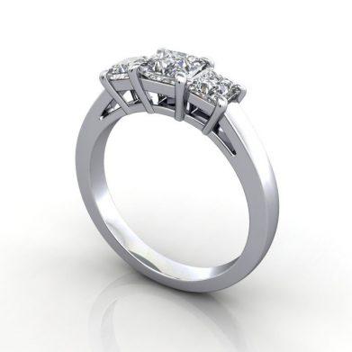 Princess Trilogy Ring, Platinum, RT10, 3D