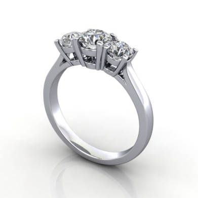 Trilogy Diamond Ring, RT2, Platinum, 3D