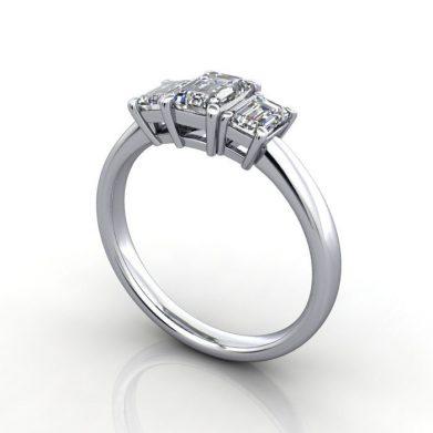 Emerald Trilogy Ring, RT4, Platinum, 3D