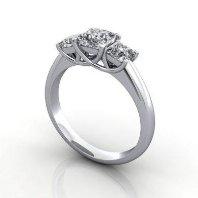 Princess Trilogy Ring, Platinum, RT5, 3D