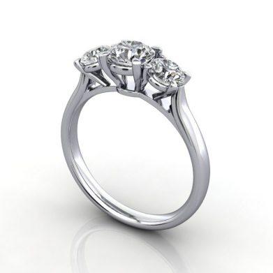 Trilogy Diamond Ring, Platinum, 3D, 3D