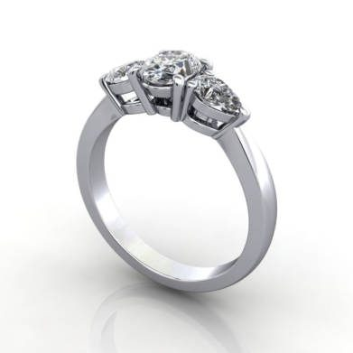 Oval and Pear Trilogy Ring, RT7, Platinum, 3D