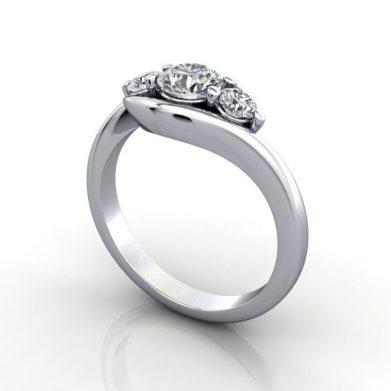 Trilogy Diamond Ring, RT8, Round Brilliant, Diamond, Platinum, LF
