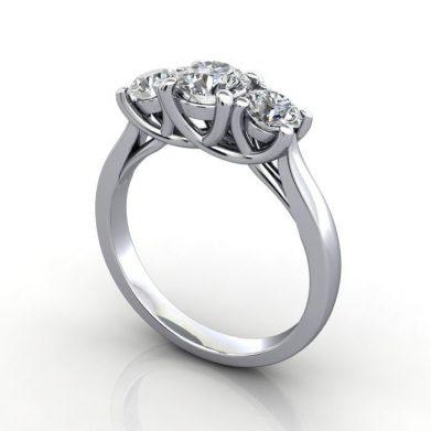 Trilogy Diamond Ring, RT9, Round Brilliant Diamond, Platinum, 3D