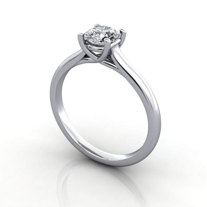 Engagement Ring, Round Brilliant, RS16, Platinum, 3D