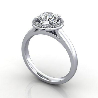 Halo Diamond Ring, RH1, Round, Platinum, SV