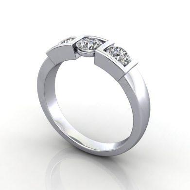 Trilogy Diamond Ring, RT11, Round Brilliant, Diamond, Platinum, 3D