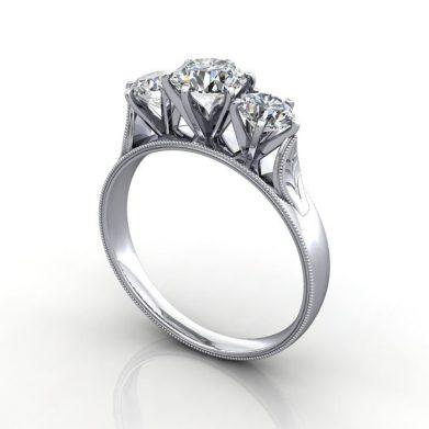 Vintage Trilogy Diamond Ring, RT12, Platinum, 3D